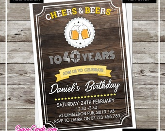 SALE 30th 40th 50th 60th Birthday Party Invitations Invites Personalised Beer Free Envelopes  Chic File or Printed Invites Booze Drink Bash