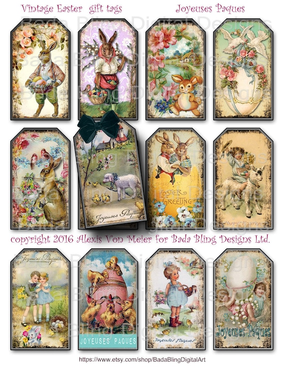 Vintage easter gift tags tag collage sheets instant digital vintage easter gift tags tag collage sheets instant digital download at checkout printable gift tags easter collage sheets from badablingdigitalart negle Choice Image