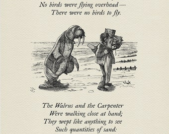 The sea was wet - The Walrus and the Carpenter - Alice: Through the Looking-Glass poster  based on illustration by J. Tenniel print #78