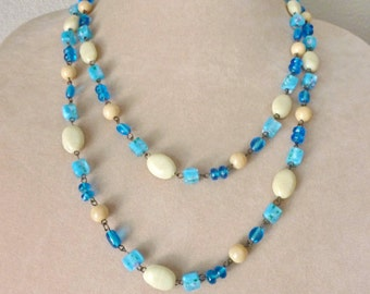Extra Long Necklace, Convertible Necklace, Long Beaded Necklace, Long Necklace Beaded, Glass Bead Necklace, Blue Bead Necklace