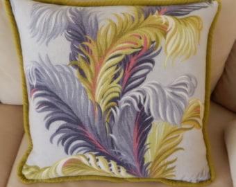 Barkcloth Tropical Pillow 40's  UP Velvet/Zipper South Beach Art Deco Chartreuse & Gray