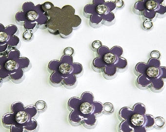 10 Cute Purple enamel flower charm with rhinestone center silver finish 16x12mm DB22019P