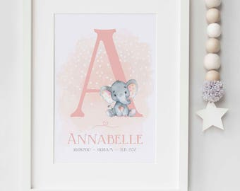 Personalised New Baby Boy/Girl Elephant Initial Nursery Birth Name Print Keepsake Picture Christening Gift UNFRAMED