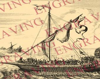 3/2 Sailing ship ship boat vessel Printable JPG Image Digital Download