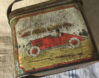 Antique Tin Graphic Lunch Box