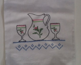5 Vintage Embroidered Kitchen Towels - 30 x 30 Flour Sack Towels - Pink, Green & Blue Dishes, Glasses, Teacups -- Housewarming, Shower Gift
