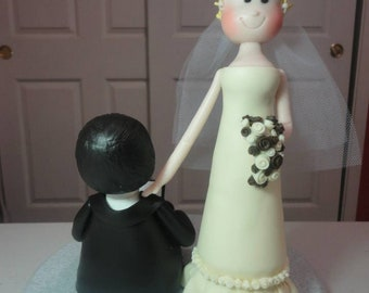 Personalized Groom and Bride Clay Wedding Cake Topper