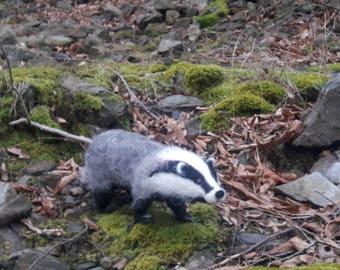 OOAK needle felted badger