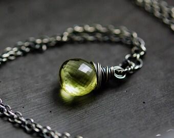 Lemon Quartz Necklace, Crystal Quartz, Sterling Silver, Yellow Crystal Pendant Necklace