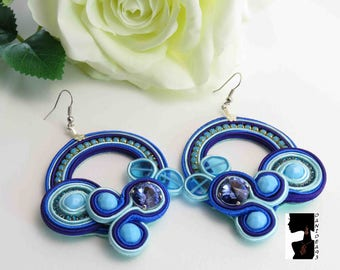 Soutaches Earrings Blue Swarovski Circle-Big hoop soutaches earrings-blue soutaches earrings-gift for her-Valentine