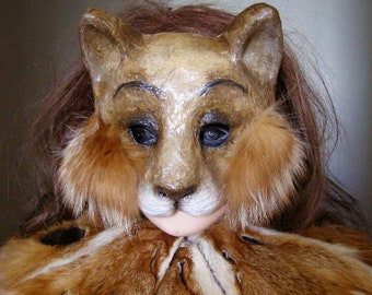 Cat mask Animal mask Masquerade mask Half face mask Scary mask Paper mache mask Carnival mask Adult mask