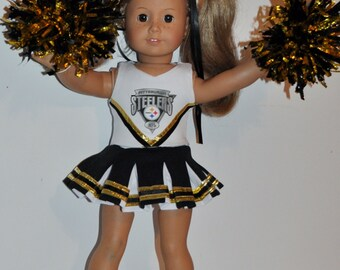STEELERS Cheerleader outfit  that fits AMERICAN GIRL dOLLS