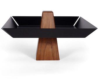 Ansel | Walnut & Black - Pedestal Tray, Centerpiece, Serving Tray