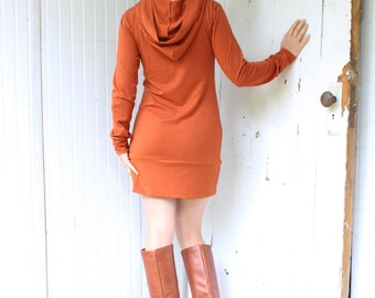 Banded Hoodie - Hooded Tunic Dress - Bamboo & Organic Cotton - Made to Order - Choose Your Color - Boho Chic Eco Fashion - Organic Clothing