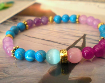 The 3 colors of PASTEL JADE yoga BRACELET: pink, purple and turquoise 6 mm