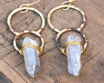 Circle Earrings Raw Crystal Earrings Hammered Brass Earrings Quartz Crystal Earrings Blue Crystal Earrings Big Earrings Unique Earrings