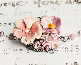 Light pink flower collage necklace, flower necklace, silver and pink, dusty rose, blush, vintage jewelry, recycled jewelry