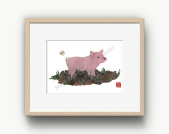 Pig Art, Farm Animals, Pink Pig Print, Farm Animal Prints, Pig Decor, Pink Piglet