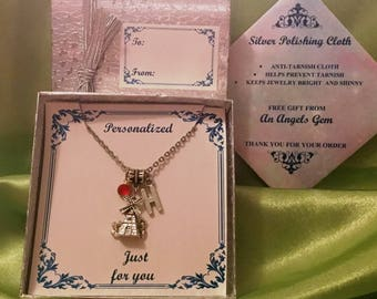 """PERSONALIZED NECKLACE #5736 """"Windmill"""", Personalized with Silver Initial and Swarovski Crystal Birthstone"""