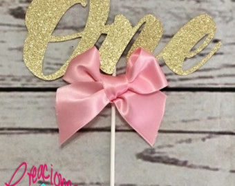 Cake Topper One with ribbon pink, blue, light blue or without ribbon