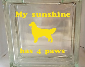 Golden Retriever Dog Glass Block Vinyl Home Decor