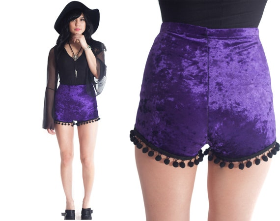 VIXEN Velvet Pom Pom high Waist Pin Up Cheeky shorts // XS S M L