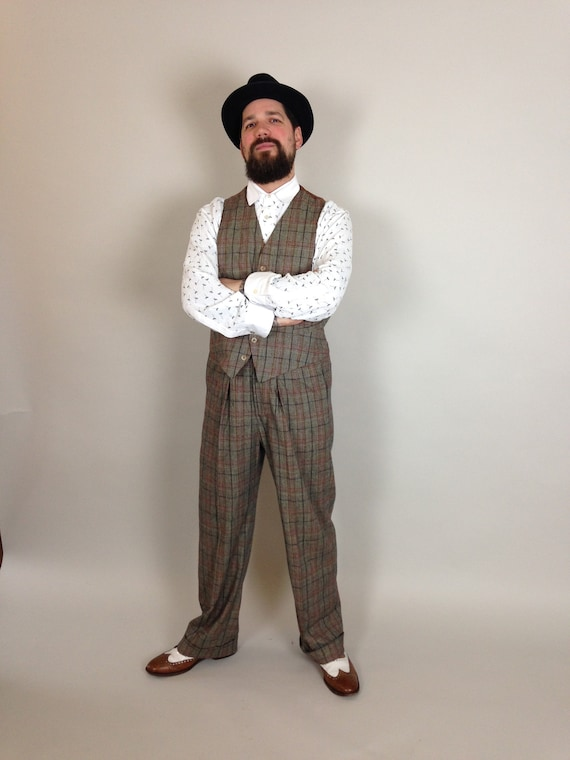 1920s Men's Fashion UK | Peaky Blinders Clothing fishtail back trousers vintage style trousers high rise mens pants  30s 40s Lindy Hop trousers checkered pants $246.69 AT vintagedancer.com