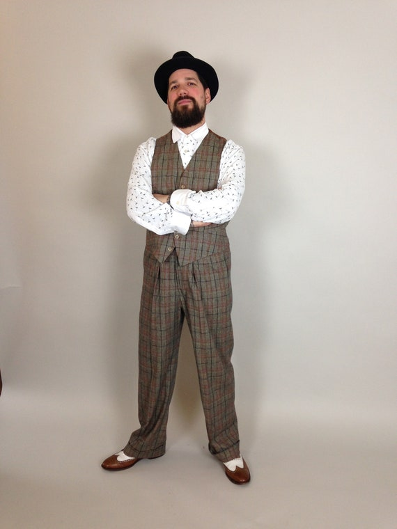 Men's Vintage Christmas Gift Ideas fishtail back trousers vintage style trousers high rise mens pants  30s 40s Lindy Hop trousers checkered pants $246.69 AT vintagedancer.com