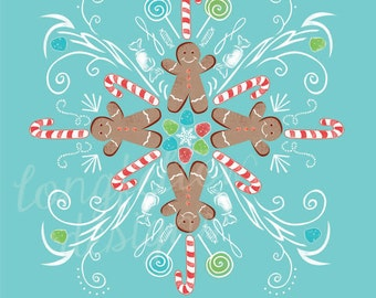 12 x 12 Christmas Print - Gingerbread Candy Snowflake - Let It Snow!
