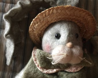 Melissa Ann Felt Collection Plush Country Grey Bunny Butterfly Collector Shelf Figurine Decor