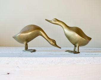 Set of Two Vintage Brass Ducks || Pair of Brass Figurines