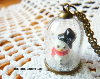 Winter Snowman Snow Glass Globe Necklace or Earrings - Gift box included