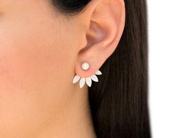 Double sided earrings, ear jacket earrings, unusual front back earrings, sterling silver earring jackets