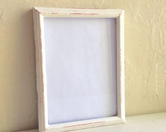 Farmhouse Style 5x7 Shabby Chic Cream Painted Wooden Picture Frames Wood Distressed