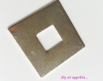 40mm silver plated copper square pendant