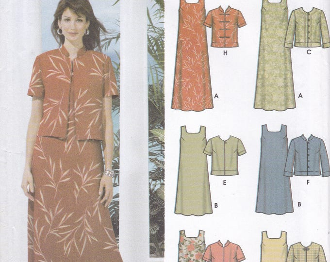 FREE US SHIP 5959 Sewing Pattern Size 8 10 12 14 Bust 31.5 32.5 34 36 Asian Inspired Dress Jacket 6 made easy