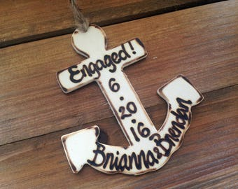 Anchors Away Engagement Gift Ornament Nautical Sea Ocean Beach Hand Engraved with Their Names and Date