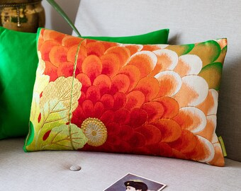 """Floral Embroidery Pillow in Red, Gold, Green Silk, Vibrant Accent Cushion, Upcycled Japanese Kimono, 12""""x18"""" Rectangular Ltd Ed ECO Upcycled"""