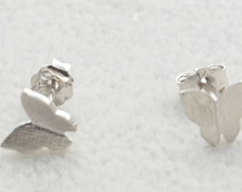 Pair of Dainty Butterfly Stud Earrings in Sterling Silver Simplistic Design Nature Inspired e6