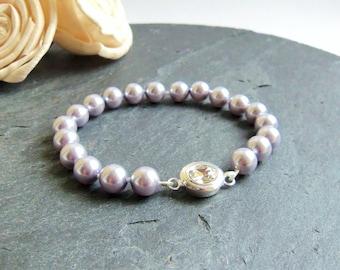 Purple Swarovski pearl bracelet, Swarovski Elements, simple pearl bracelet, bridesmaid jewelry, knotted pearls, lavender, retirement gift