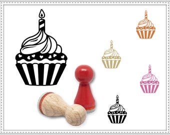 Rubber stamp CUPCAKE WITH CANDLE Ø 15 mm
