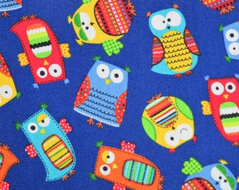 Tossed Owls Blue Childrens Organic Cotton Timeless Treasures #2047 By the Yard