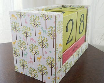 Perpetual Wooden Block Calendar - Citrus Lime Green and Pink - Deer and Bunnies in the Woods - Calendar Blocks - Forest Woodland Creatures