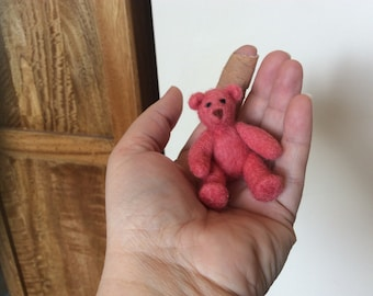 Tiny needle felted teddy bear, cake topper, baby shower gift, birthday
