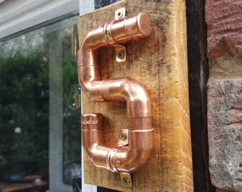 Handmade | homemade copper and wood house number | door number