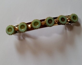 Pale Green Flower Gold Swarovski Crystal French Barrette, for weddings, parties, special occasions