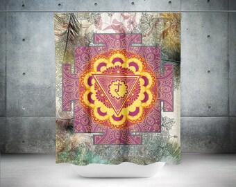 Manipura Shower Curtain,Boho Shower Curtain,Boho Decor,Hippie Shower Curtain,Bohemian Curtain,Sacred Mandala,Boho Chic,Chakra Shower Curtain