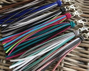 Bag Charm, Tassel Keychain, Tassel Bag Charm, Purse Tassel, Faux Leather Tassel Keychain, Purse Charm -Choose Your Color & Clip or Keyring