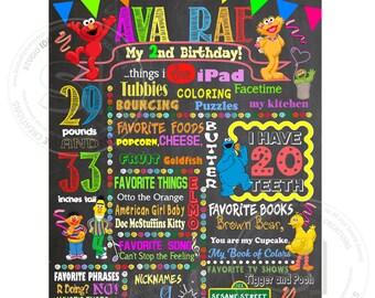 "Elmo Printable Stats Sign-Sesame Street Personalized Stats Poster 16""x20"" Printable Elmo Birthday Statistics Sign - DIY Digital File"