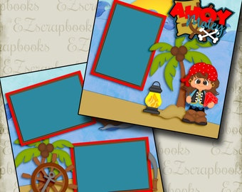 Ahoy Matey Girl - 2 Premade Scrapbook Pages - EZ Layout 2986